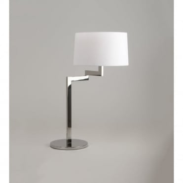 MOMO - Swing Arm Chrome Table Lamp - Round White Shade
