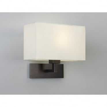 PARK - Lane Grande Modern Bronze Hotel Style Wall Light With White Fabric Shade