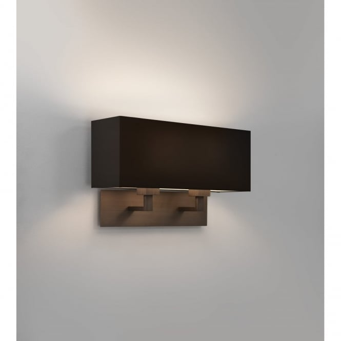 PARK - Lane Grande Twin Modern Bronze Wall Light With Black Shade
