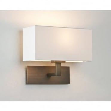 PARK - Lane Modern Bronze Hotel Style Wall Light With White Fabric Shade