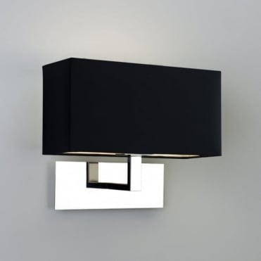 PARK - Lane Modern Chrome Hotel Style Wall Light With Black Fabric Shade