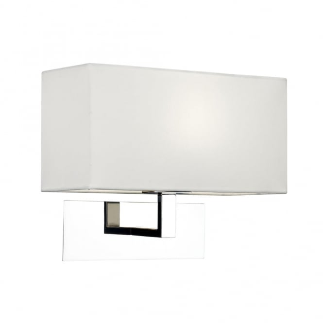 PARK - Lane Modern Chrome Hotel Style Wall Light With White Fabric Shade