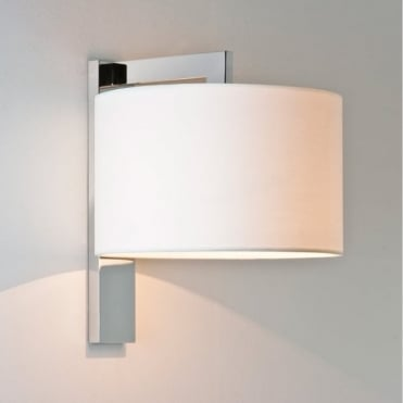 RAVELLO - Contemporary Chrome Wall Light With White Shade