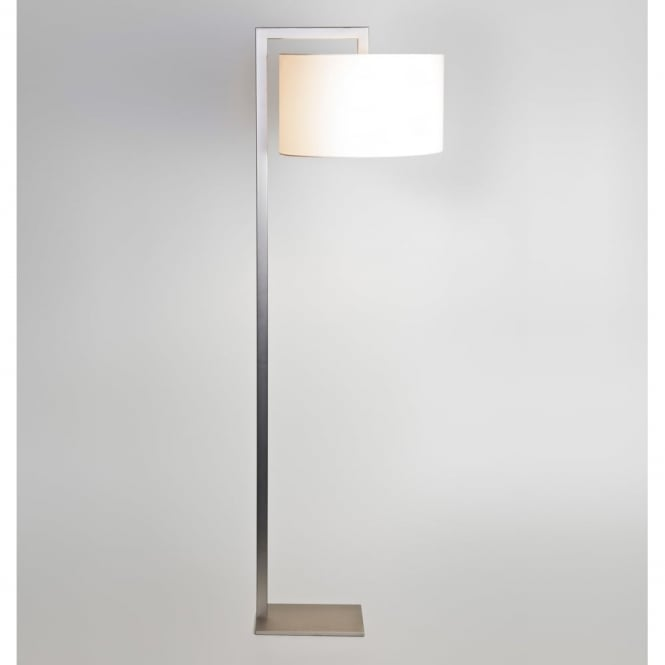 RAVELLO - Contemporary Satin Nickel Floor Lamp With White Shade