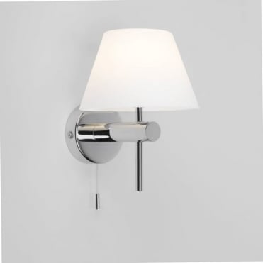 ROMA - Switched Polished Chrome Bathroom Wall Light With Opal Glass Shade