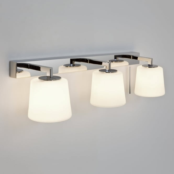 TRIPLEX - 3 Light Bathroom Wall Light In Chrome With Opal Glass