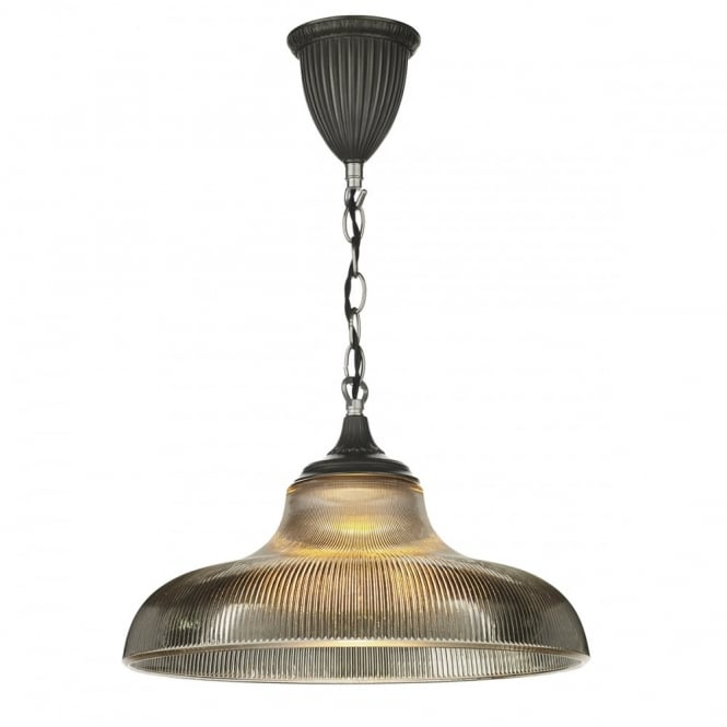BADGER - 1 Light Ceiling Pendant Steel C/W Smoked Glass