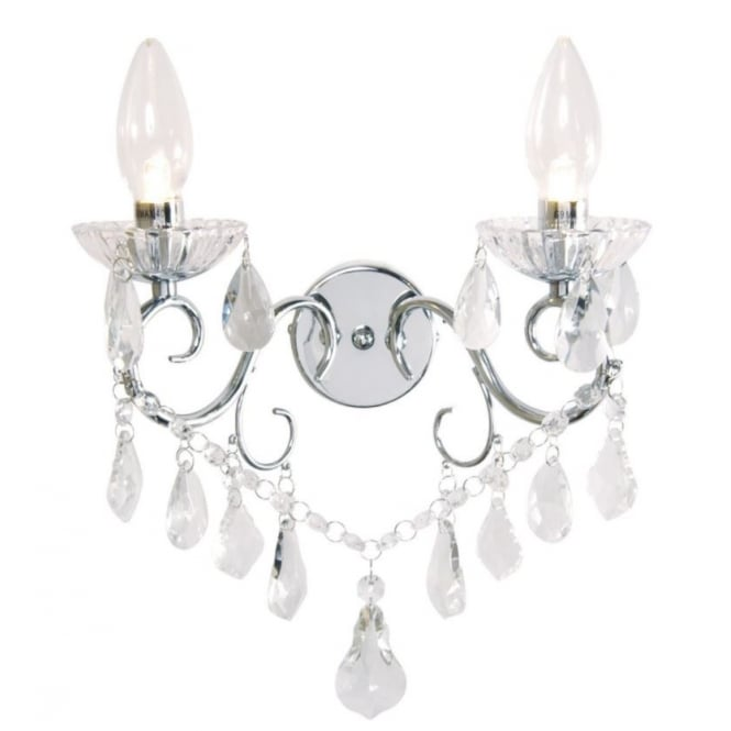 Bagno VELA Luxury Bathroom Twin Light Wall Chandelier in Polished Chrome and Crystal Effect Glass