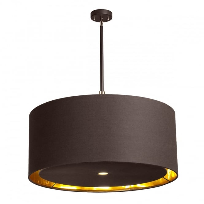 Extra Large 4 Light Ceiling Pendant Brown Brass Gold Shade