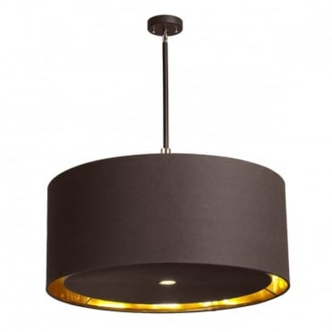 BALANCE Extra Large 4 Light Ceiling Pendant Brown and Polished Brass, Gold Shade Lining