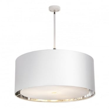 BALANCE Extra Large 4 Light Ceiling Pendant White and Polished Nickel, Silver Shade Lining