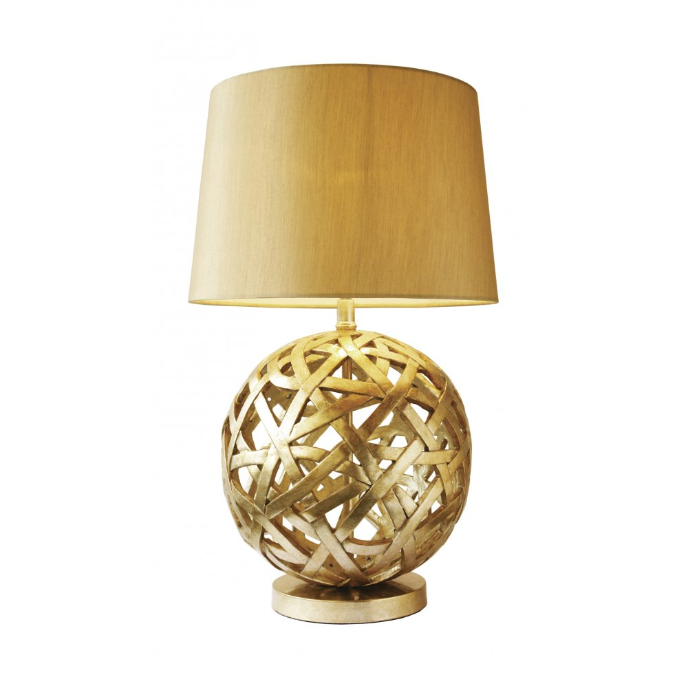Antique Gold Woven Ball Design Table Lamp With Shade Class 2