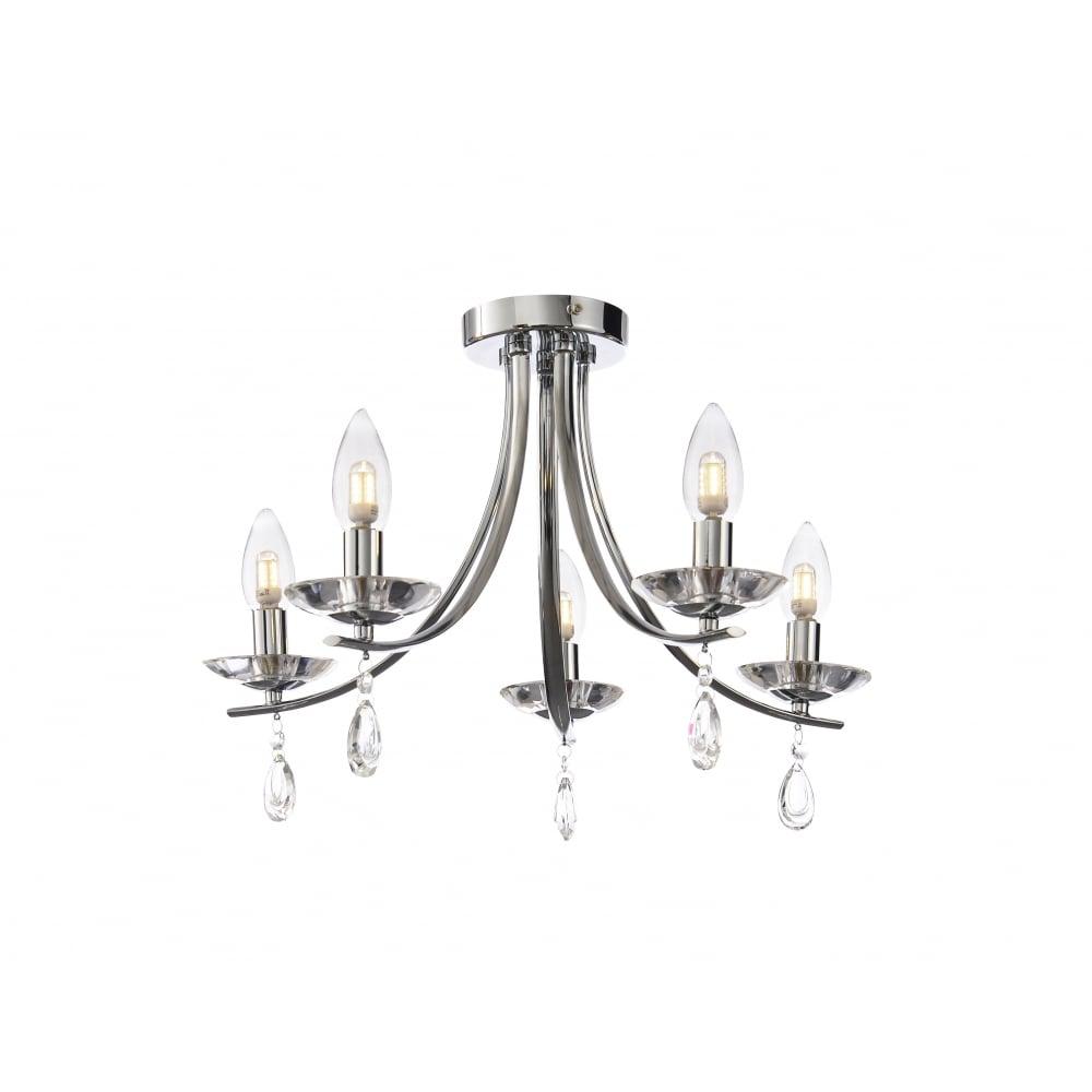 elegant 5 lt chandelier polished chrome crystal lighting and lights