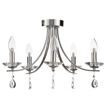 BANDON - Elegant 5 Light Semi-Flush Chandelier Polished Chrome with Crystal