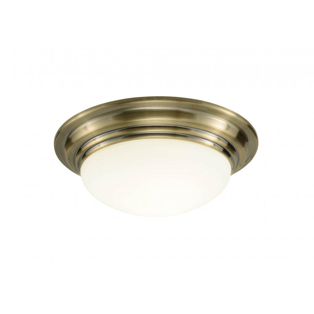 Traditional Antique Brass Flush Bathroom Ceiling Light W Opal Shade