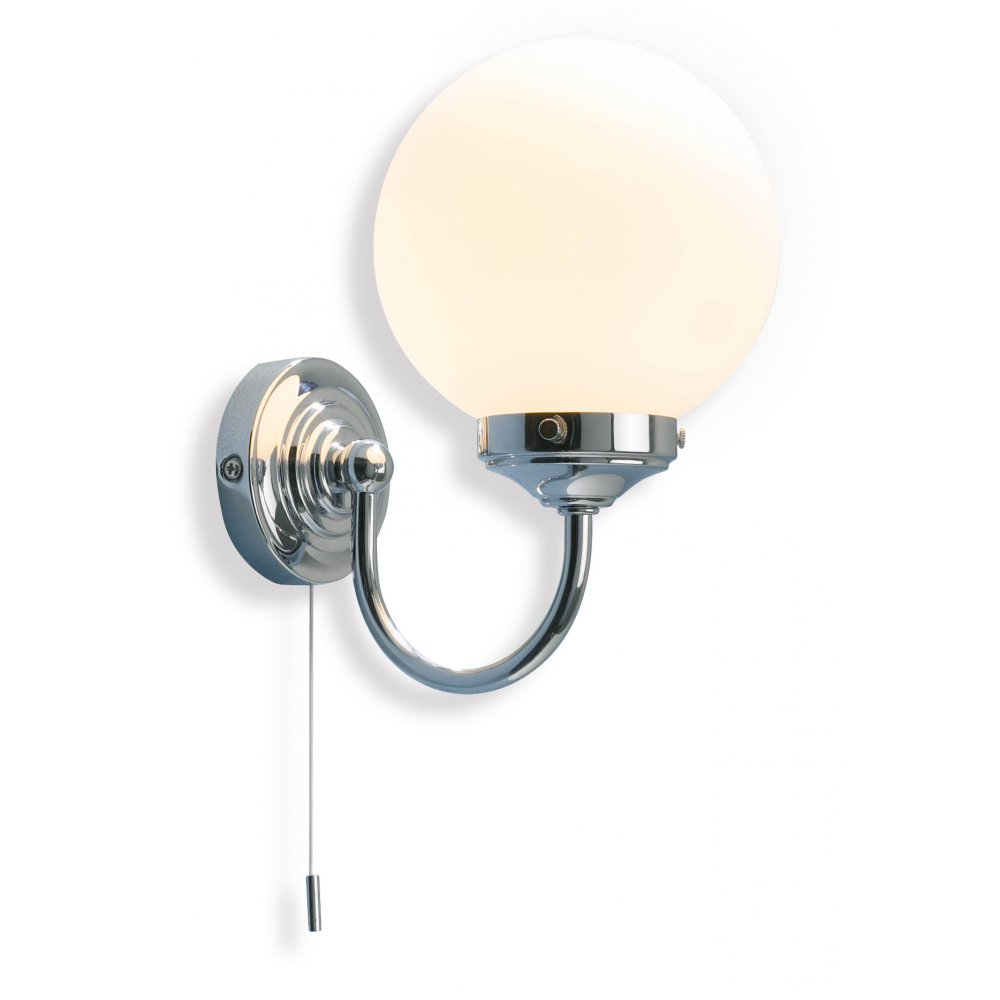 Traditional design bathroom wall light in polished chrome w opal dome barclay traditional chrome bathroom wall light aloadofball Choice Image