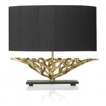 BASKET - Gold And Black Table Lamp Complete With Black Silk Shade