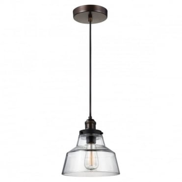BASKIN Ceiling Pendant Light in Brass/Dark Zinc with Clear Glass Shade