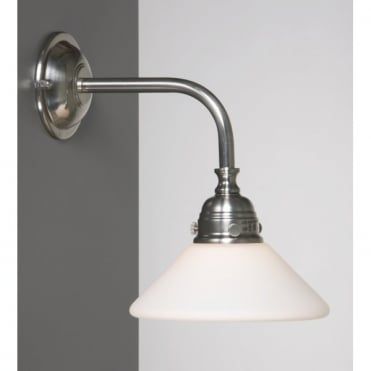 BATH CLASSIC Traditional Bathroom Wall Light in Satin Nickel with Opal Glass Shade