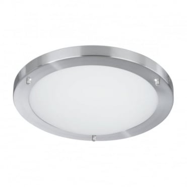 BATHROOM - Bathroom Ip44 1 Light 42Cm Satin Silver Opal Glass Flush 2