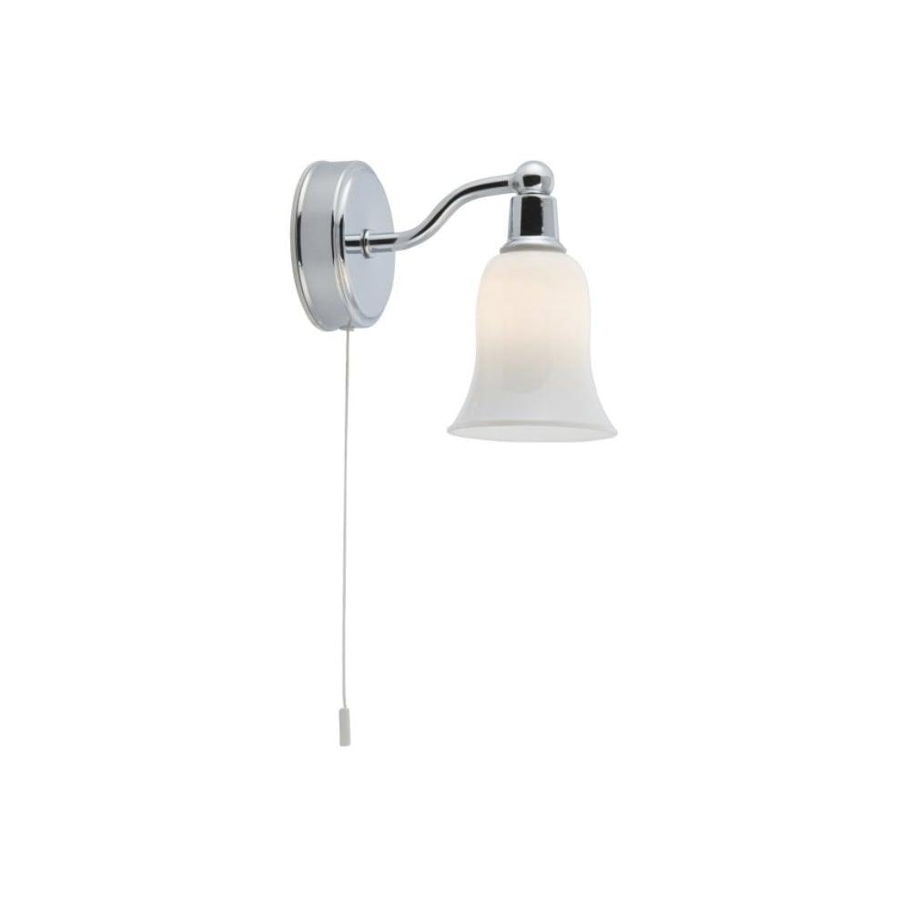 Bathroom Ip44 Wall Light Polished Chrome Bell Shaped Opal Shade With Switch