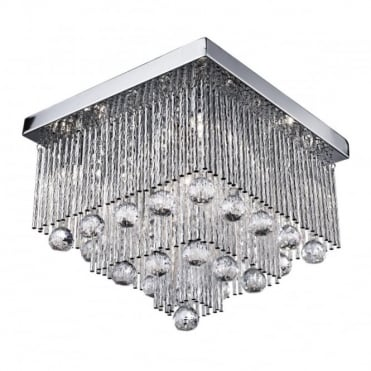 BEATRIX - 5 Light Square Ceiling Flush Ceiling Chrome With Twist T