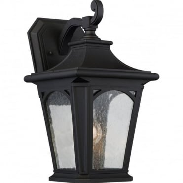BEDFORD Medium Exterior Wall Lantern Black Seeded Glass