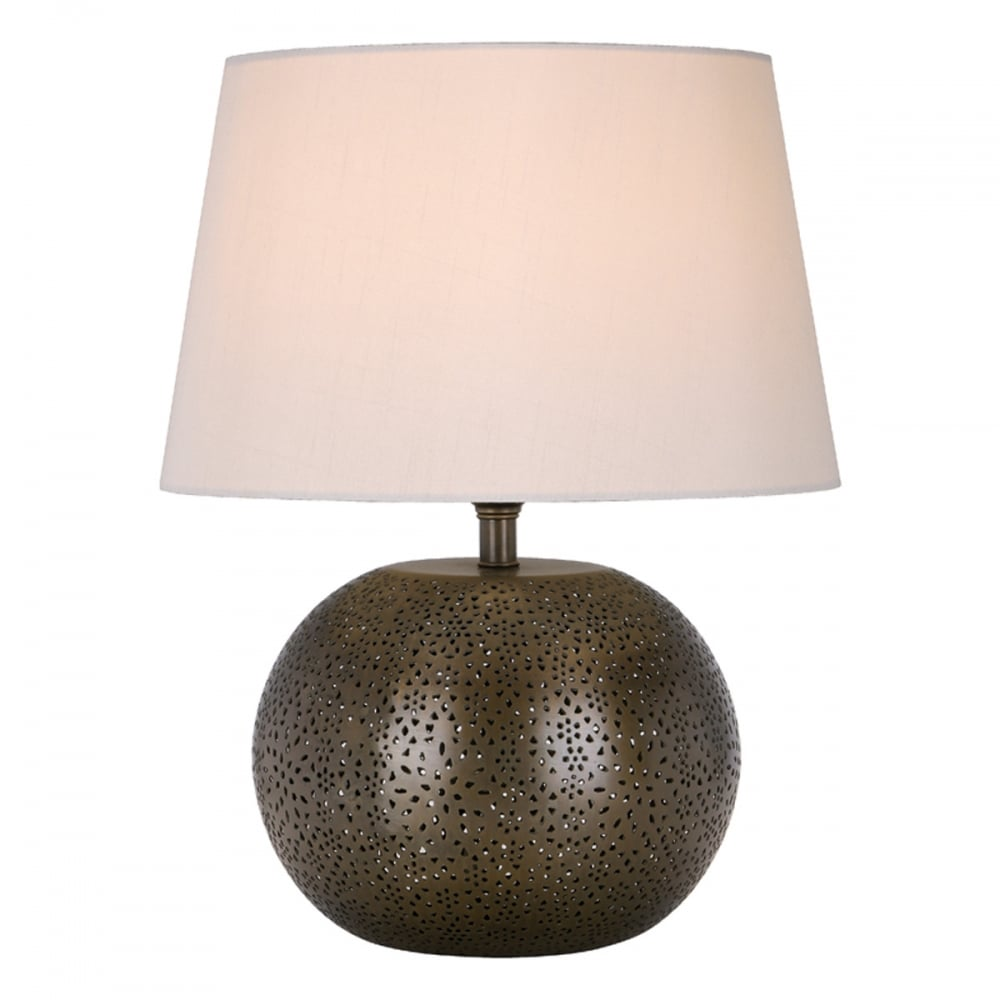 BEGA Table Lamp Round Antique Brass Fretwork Base Only