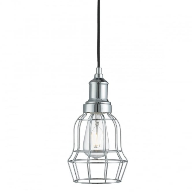 BELL - Cage 1 Light Chrome Cage Ceiling Pendant