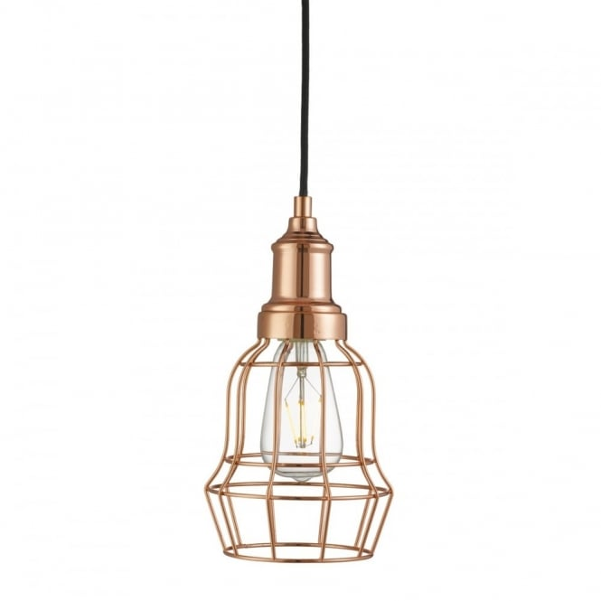 BELL - Cage 1 Light Copper Cage Ceiling Pendant