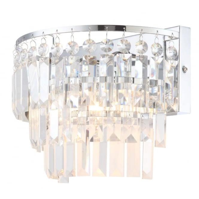 BELLE IP44 Bathroom Safe Belle Crystal Chisel Cut Wall Light