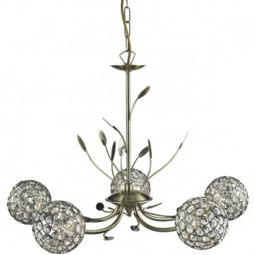 BELLIS - Ii 5 Light Ceiling Pendant Antique Brass With Clea
