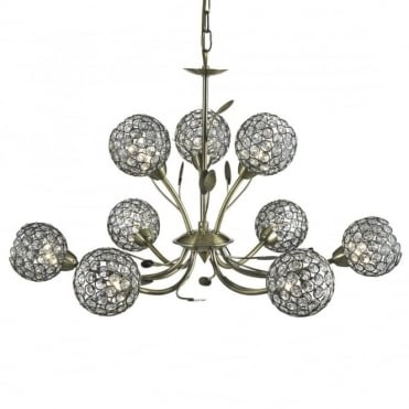 BELLIS - Ii 9 Light Ceiling Pendant Antique Brass With Clea