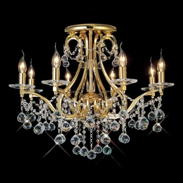 BIANCO Gold and Crystal Chandelier for Low Ceilings