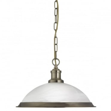 BISTRO - 1 Light Industrial Ceiling Pendant Antique Brass Marble Glass