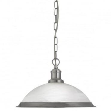 BISTRO - 1 Light Industrial Ceiling Pendant Satin Silver Marble Glass