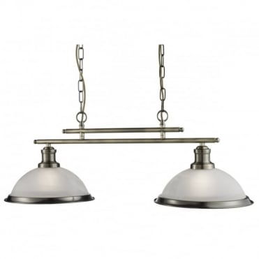 BISTRO - 2 Light Industrial Ceiling Bar In Antique Brass With Marble Shades