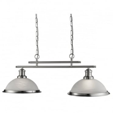 BISTRO - 2 Light Industrial Ceiling Bar In Satin Silver With Marble Shades