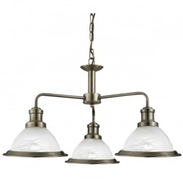 BISTRO - 3 Light Industrial Ceiling Antique Brass Marble Glass