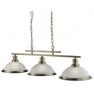 BISTRO - 3 Light Industrial Ceiling Bar In Antique Brass With Marble Shades