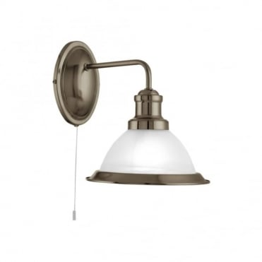BISTRO - LED 1 Light Industrial Wall Bracket Antique Brass Marble Glass , Switched