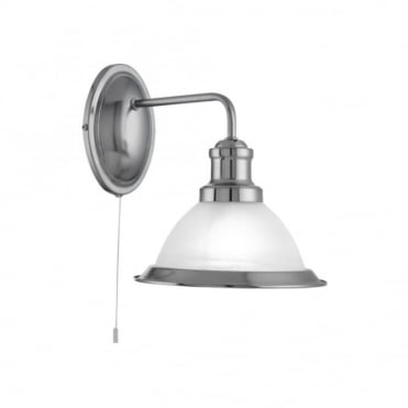 BISTRO - LED 1 Light Industrial Wall Brackey Satin Silver Marble Glass , Switched