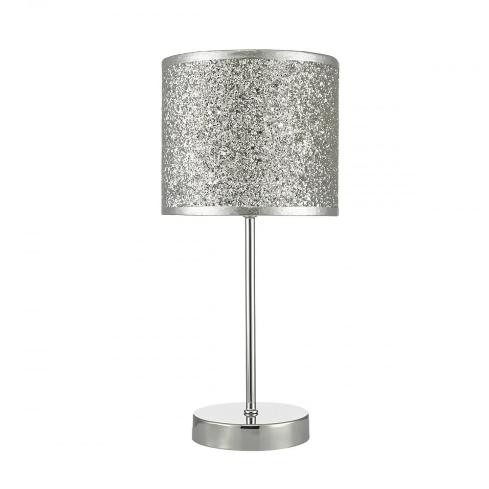 BISTRO   Touch Table Lamp Chrome Silver Glitter Shade