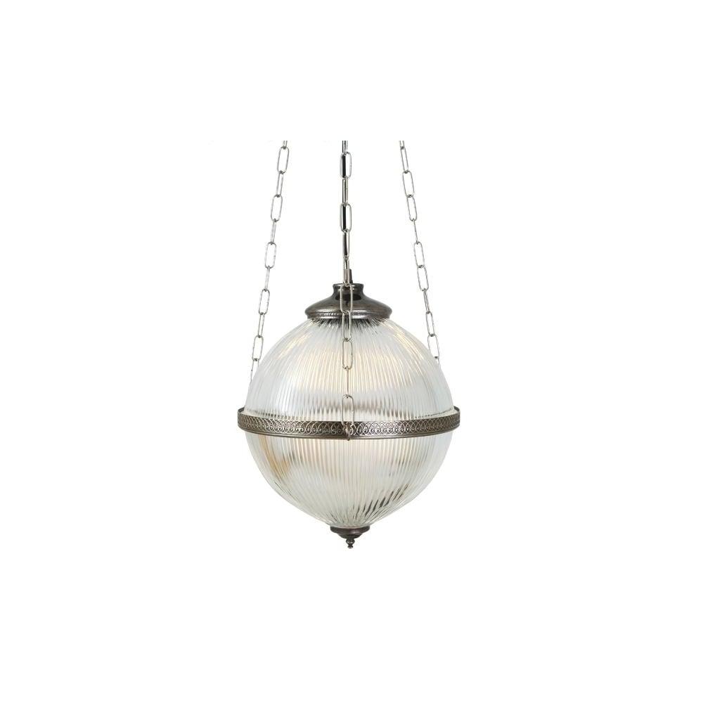 BLAENAU - Victorian Holophane Ceiling Pendant In Antique Silver