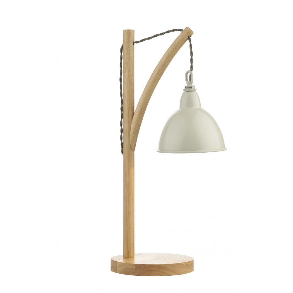 Contemporary Wooden Table Lamp With Painted Metal Shade