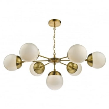 BOMBAZINE - 7 Light Ceiling Pendant Antique Brass Complete With Glass Shades Natural Brass