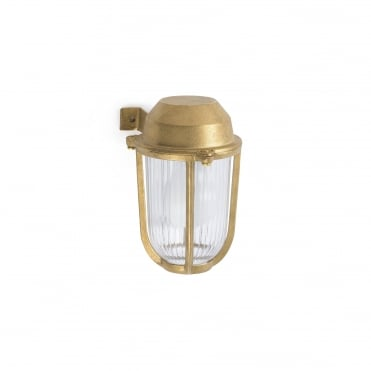 BORDA Exterior Wall Light in Brass with Ribbed Glass Shade and Cage