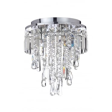 BRESNA - 3 Light Luxury Crystal Bathroom Flush Chandelier with LED Bulbs Included