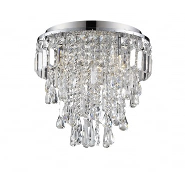 BRESNA - 38cm Luxury Crystal Bathroom Flush Chandelier with LED Bulbs Included