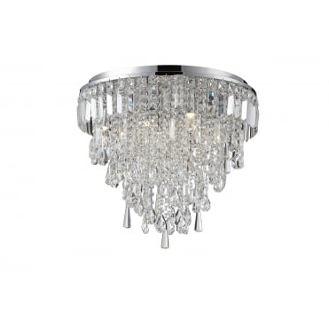 BRESNA - 50cm Luxury Crystal Bathroom Flush Chandelier with LED Bulbs Included